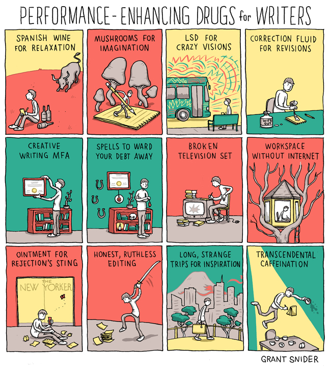 Performance Enhancing Drugs for Writers by Grant Snider [One More Thing Before We Go]