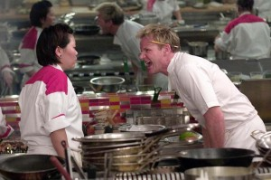 Chef Gordon Ramsay chews out a chef in an episode of Hell's Kitchen