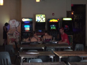 A BurgerTime machine can be seen on the left inside Barcade, Jersey City, New Jersey.