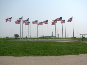 A circle of flags marks the spot of the Black Tom Explosion in Liberty State Park.