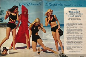 This is a swimsuit layout from a 1972 Sears Catalog. Let me tell you, I would wear the heck out of the swimsuit on the far left. You should definitely click on the pic to see the other sweet vintage clothes at Jezebel.com