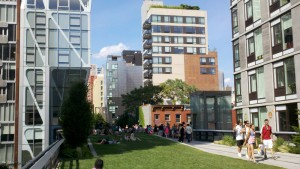 The lawn on the second open segment of The High Line.