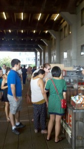 Food carts line the section of The High Line that passes through the Chelsea Market building.